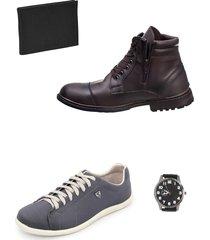 bota masculina chelsea e sapatenis com brindes selten - cinza/marrom - masculino - couro sintã©tico - dafiti