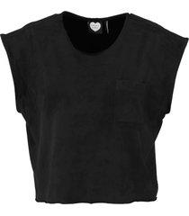 catwalk junkie korte zachte zwarte cropped suèdelook oversized top