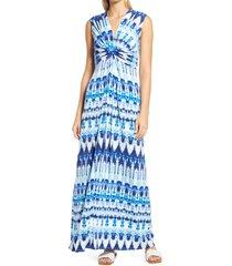 women's eliza j twist front knit maxi dress, size 4 - blue