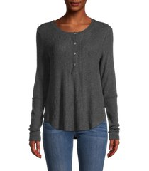 heroes & dreamers women's ribbed high-low top - heather charcoal - size l