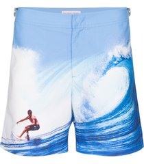 orlebar brown short de natação 'catching the wave' - azul