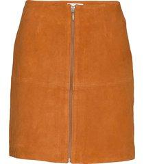 leather skirt short kort kjol orange maud