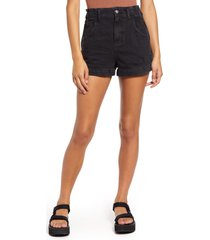 topshop paperbag high waist nonstretch denim shorts, size 14 us in washed black at nordstrom