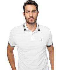 camisa polo forum reta frisos branca