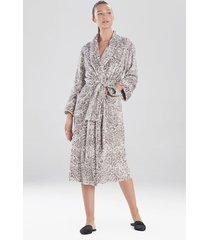 cashmere fleece plush leopard sleep & lounge bath wrap robe, women's, size l, n natori