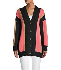 oversized colorblock wool-blend cardigan sweater