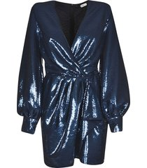 amen sparkling sequin-coated belted dress