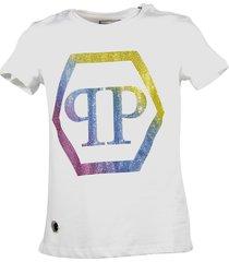 philipp plein white crystal logo cotton jersey t-shirt