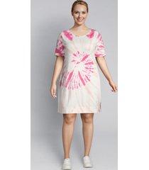 lane bryant women's livi french terry sweatshirt dress - tie-dye 26/28 fusion coral