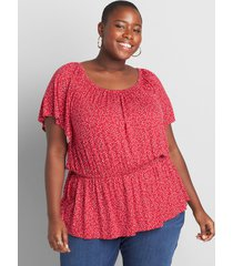 lane bryant women's printed flutter-sleeve square-neck blouse with elastic waist 38/40 sweet calico