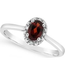 garnet (1/2 ct. t.w.) and diamond accent ring in sterling silver (also available in other gemstones)