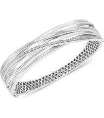 effy diamond multi-row crossover bangle bracelet (1/5 ct. t.w.) in sterling silver