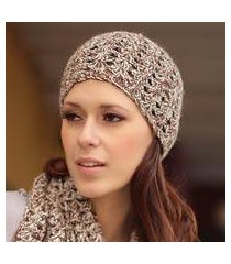 100% alpaca scarf and hat set, 'coffee fans' (peru)
