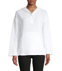 pure navy women's textured gauze puckered hoodie - white - size m
