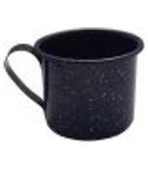 caneca xícara agata aço esmaltado leiteira rustica 650ml azul