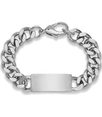 nordstrom men's id curb chain bracelet in silver at nordstrom