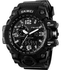 reloj estilo militar cronografo skmei 1155 - color negro blanco