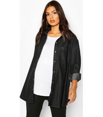 maternity oversized denim shirt, black