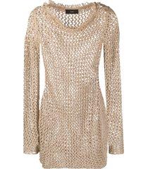 alanui woven metallic mini dress - neutrals
