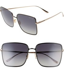 women's tom ford heather 60mm polarized flat front square sunglasses -