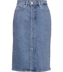 button up midi skirt knälång kjol blå calvin klein