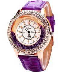 orologi di lusso del quarzo delle donne casuali della cinghia di cuoio di perline strass pieno unico per le donne
