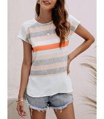 blusa de costura con rayas naranjas ocasionales patrón