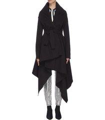belted asymmetric draped robe coat