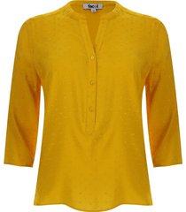 blusa manga 3/4 unicolor color amarillo, talla xs