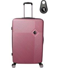 mala de bordo padrão anac em abs - santino - 19 polegadas com localizador bluetooth reaggio - rosa claro