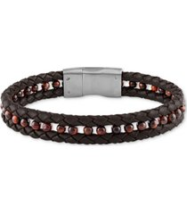 esquire men's jewelry hematite (4mm) black leather braided bracelet in matte stainless steel (also in red tiger's eye), created for macy's