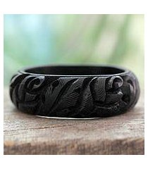 wood bangle bracelet, 'black rose garland' (india)