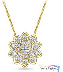 flower style pendant with chain round cut diamond yellow gold plated 925 silver