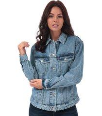 vero moda womens katrina loose fit denim jacket size 6 in blue