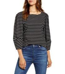 women's lucky brand stripe three-quarter sleeve top