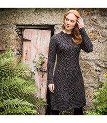 the skellig aran dress charcoal l