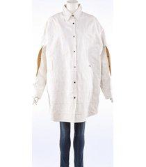 calvin klein 205w39nyc patchwork stars + stripes white cotton shirt white sz: s