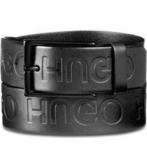 hugo boss men's giaci embossed logo leather belt