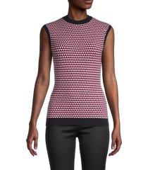 boss hugo boss women's walinda geometric sleeveless sweater - pink multicolor - size m