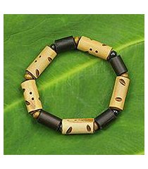 bamboo and wood stretch bracelet, 'bamboo delight' (ghana)