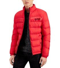 hugo hugo boss men's balto slim-fit quilted logo-print puffer jacket