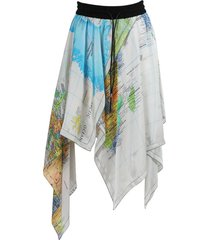 multicolored world map asymmetric skirt