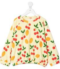mini rodini lemon and cherry-print sweatshirt - yellow