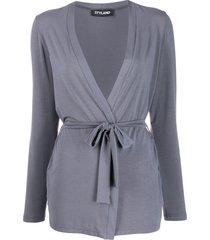 styland belted lightweight cardigan - grey