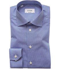 eton men's contemporary-fit micro gingham dress shirt - blue - size 15.5