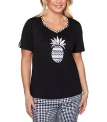 alfred dunner checkmate printed pineapple knit top