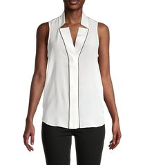 frame women's sleeveless silk top - white - size m