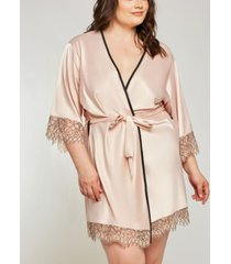 icollection plus size eyelash flower lace wrap robe, online only