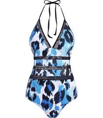leopard backless crochet panel one-piece halter swimsuit