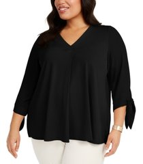 alfani plus size pleated-back tie-sleeve top, created for macy's